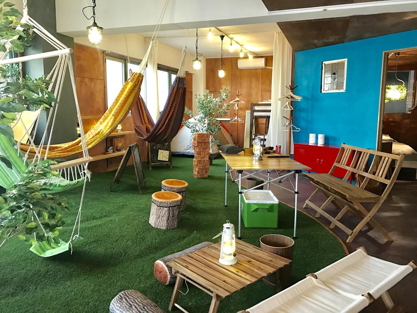 屋内キャンプ・グランピングが楽しめるスペースです☆ハンモック・ブランコ・テント・無煙ロースターあり☆キッチンも広々(セントラルパークin浅草キャンプ|Indoor Camp & Gramping Space) の写真0