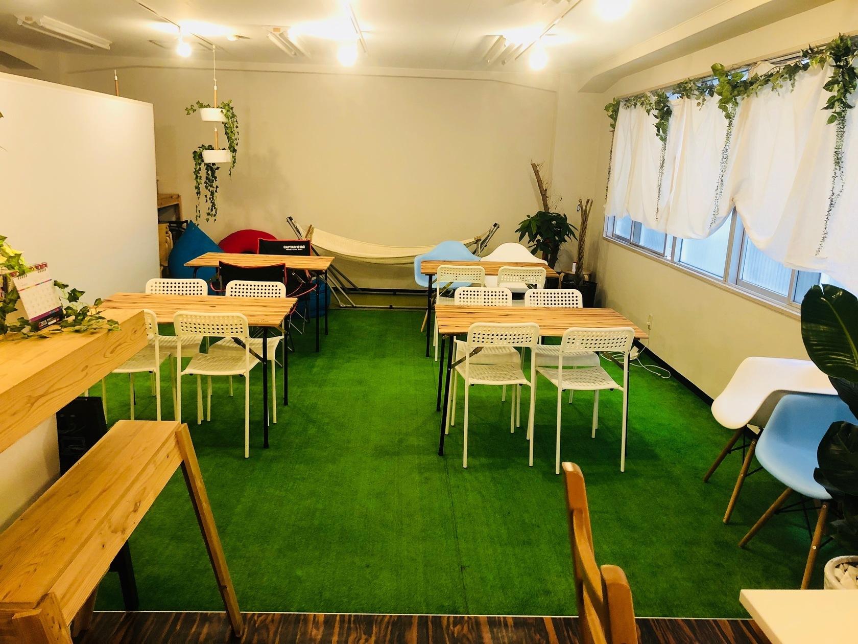 【天満駅・扇町駅すぐ】コワーキングスペースの中にあるカフェの様な癒しのイベントスペース、ケータリングも可能 のカバー写真